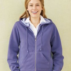 Women's Garment Dyed Ringspun Hooded Full-Zip Sweatshirt Thumbnail