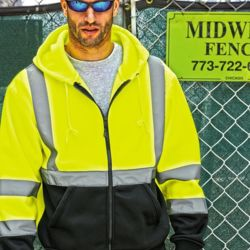 Hi-Vis Hooded Full-Zip Sweatshirt Thumbnail