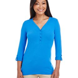 Ladies' Perfect Fit™ Y-Placket Convertible Sleeve Knit Top Thumbnail