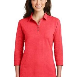 Ladies 3/4 Sleeve Meridian Cotton Blend Polo Thumbnail
