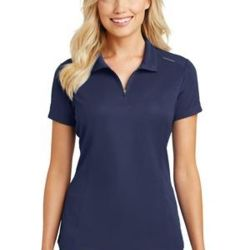Ladies Pinpoint Mesh Zip Polo Thumbnail