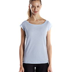 Ladies' 3.8 oz. Cap Sleeve Raw Edge Open Neck Thumbnail