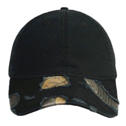 OTTO Camouflage Garment Washed Distressed Superior Cotton Twill Six Panel Low Profile Baseball Cap Thumbnail
