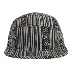 OTTO Aztec Pattern Cotton Jacquard Binding Trim Square Flat Visor Five Panel Camper Hat Thumbnail