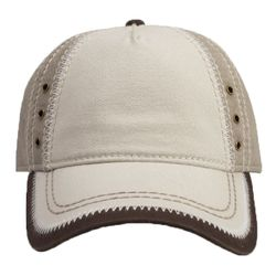 OTTO Garment Washed Superior Cotton Twill w/ Zig Zag Stitching Binding Trim Visor Five Panel Low Pro Thumbnail