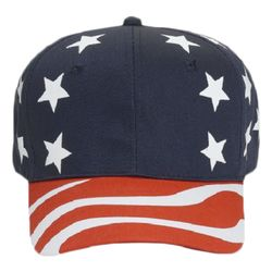 OTTO United States Flag Pattern Cotton Twill Six Panel Pro Style Baseball Cap Thumbnail