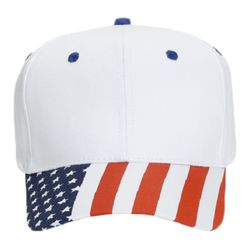 OTTO United States Flag Pattern Visor Cotton Twill Six Panel Pro Style Baseball Cap Thumbnail