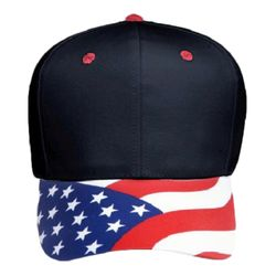 OTTO United States Flag Pattern Visor Cotton Twill Six Panel Low Profile Baseball Cap Thumbnail