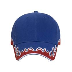 OTTO Flame Pattern Brushed Cotton Twill w/ Polyester Pro Mesh Sandwich Visor Six Panel Low Profile B Thumbnail