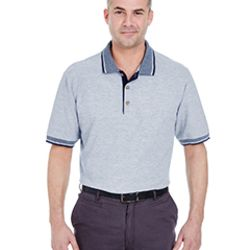 Adult Color-Body Classic Piqué Polo with Contrast Multi-Stripe Trim Thumbnail
