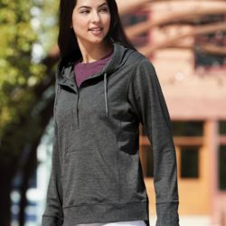Omega Stretch Terry Women's Snap Placket Hooded Pullover Thumbnail