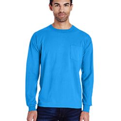 Unisex 5.5 oz., 100% Ringspun Cotton Garment-Dyed Long-Sleeve T-Shirt with Pocket Thumbnail
