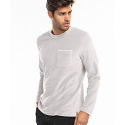 Unisex Velour Long Sleeve Pocket T-Shirt Thumbnail