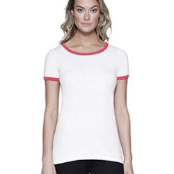 Ladies' CVC Ringer T-Shirt Thumbnail