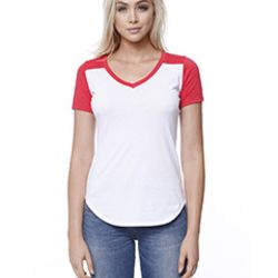 Ladies' CVC Varsity V-Neck T-Shirt Thumbnail