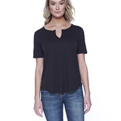 Ladies' 4.3 oz., CVC  Slit V-Neck T-Shirt Thumbnail
