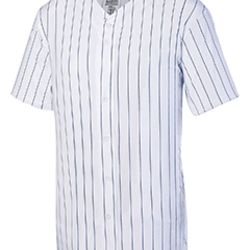 Unisex Pin Stripe Full Button Baseball Jersey Thumbnail