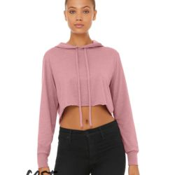 Fast Fashion Women's Triblend Cropped Long Sleeve Hooded Tee Thumbnail
