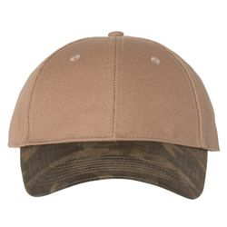 Canvas Crown Cap with Weathered Camo Visor Thumbnail