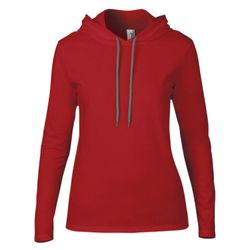Ladies' Lightweight Long-Sleeve Hooded T-Shirt Thumbnail