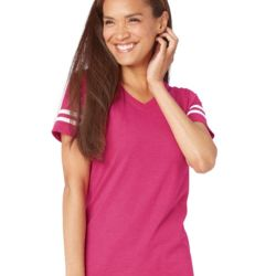 Women's Football V-Neck Fine Jersey Tee Thumbnail