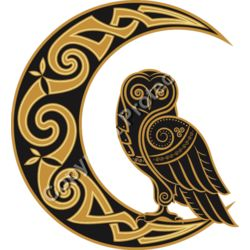 Celtic Moon and Owl - Celtic Fantasy T-Shirt Design Thumbnail