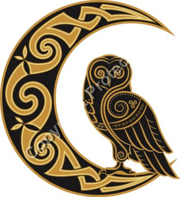 Celtic Moon and Owl - Celtic Fantasy T-Shirt Design