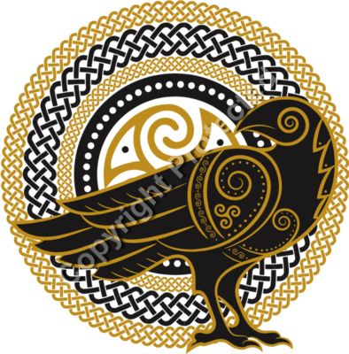 Celtic Crow - Celtic Fantasy T-Shirt Design