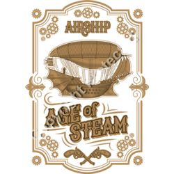Steampunk Age of Steam Airship Design - Fantasy Sci-Fi T-Shirt Design Thumbnail