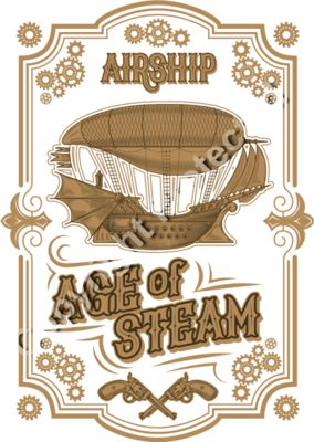 Steampunk Age of Steam Airship Design - Fantasy Sci-Fi T-Shirt Design