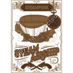Steampunk Steam Airship Design - Fantasy Sci-Fi T-Shirt Design Thumbnail