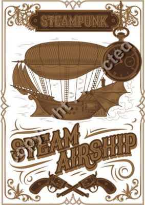 Steampunk Steam Airship Design - Fantasy Sci-Fi T-Shirt Design