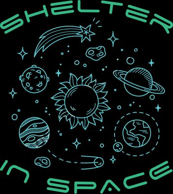 Shelter in Space COVID-19 Cornavirus Pandemic Tshirt Design