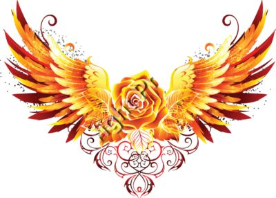 Fiery Winged Rose - Fantasy Sci-Fi T-Shirt Design